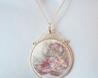 Vintage renaissance style lovers portrait necklace- gold chain with romantic garden scene pendant (N1)