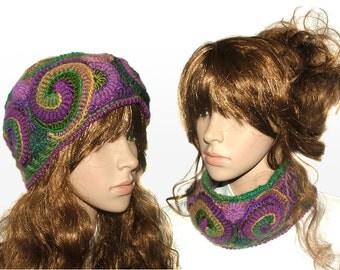 Womens Headband Ear warmers Cowl Freeform Crochet OOAK in Multi Colors