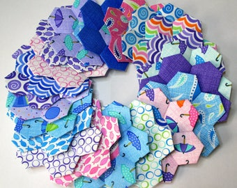 Closing Down Sale Moda Hexagon Flowers English Paper Piecing Three Sisters Rainy Days 22