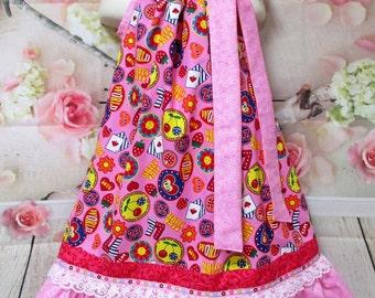Sale Free Ship!! Girls Dress 5/6 Pink Happy Days, Hearts, Love Pillowcase Dress, Pillow Case Dress, Sundress, Boutique Dress