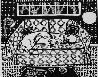 Martinis linoleum print by Coco Berkman Dogs on Sofas series