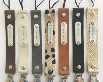 Personalized Leather STAMPED pacifier clip- YOU choose color and name