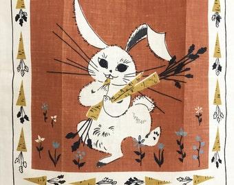 Vintage Kitchen Tea Towel Bunny Rabbit Carrots