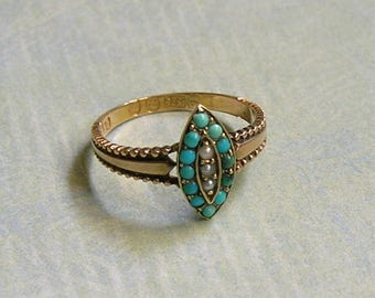 Antique Victorian 15K Rose Gold Turquoise and Seed Pearl Ring, Old Victorian Ring With Seed Pearls and Turquoise, Antique Ring (#3202)