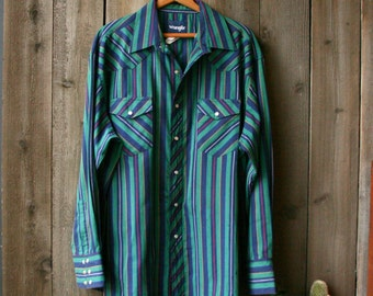 Wrangler Long Sleeve Mens Shirt Country Western Pearl Snaps Cowboy Shirt Green And Navy Vintage At Nowvintage On Etsy