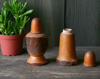 Live Edge Rustic Wood Salt and Pepper Shakers 1940s Made in Japan Primitive Vintage From Nowvintage on Etsy