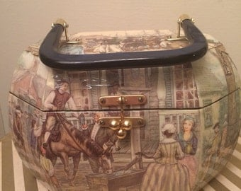 Vintage 1970s Decoupage Swingin Purse Americana by Cunningham FREE US Shipping