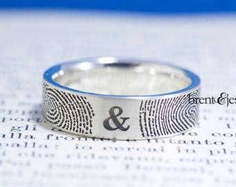 You&Me Forever Your Actual Fingerprint Wedding Ring in Sterling Silver Handmade in the USA Fingerprint A Modern Unique wedding ring