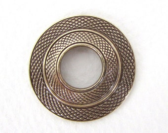 Antiqued Brass Ox Focal Pendant Connector Textured Ring Bead Finding Round 26mm chm0648 (1)
