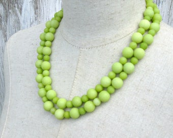 Double Strand Lemon Lime Green Frosted Agate Beaded Chunky Necklace