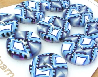 Handmade Round Buttons Blue White and Grey 20mm