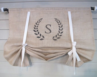 Monogram Natural Burlap 36 Inch Long Stage Coach Blind Swedish Roll Up Shade Modern Farmhouse Tie Up Curtain Swag Balloon