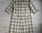 Vintage 3/4 Length Sleeve Lightweight Beige/Tan Checked Coat