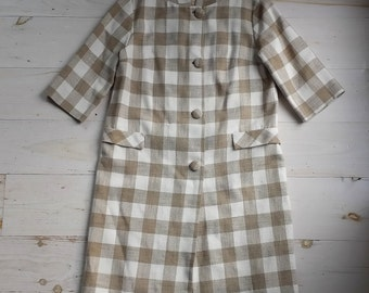 Vintage 3/4 Length Sleeve Lightweight Beige/Tan Checked Coat