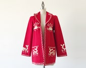 Vintage 1970s Red Wool Embroidered Unisex Mexican Coachella Jacket - S/M
