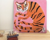 Print on wood of a tiger