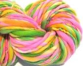 HALF OFF SALE Bulky Handspun Yarn Zinnias 95 yards hand dyed wool pink yarn green yellow orange yarn  knitting supplies crochet supplies