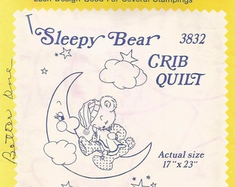 vintage Aunt Marthas Hot Iron On Transfers, Sleepy Bear, no 3832, Crib Quilt, sewing supplies, embroidery patterns, textile painting, crafts