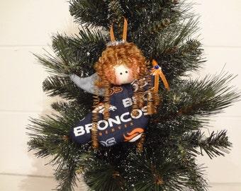 Denver Broncos fabric angel ornament #1