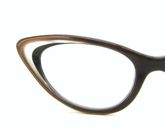 Vintage Cats Eye Eyeglasses Sunglasses Frame Satin Brown and pearl Layered