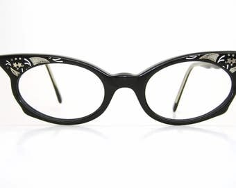Vintage Black Cat Eye Glasses Eyeglasses Sunglasses Atomic Frame With Stars