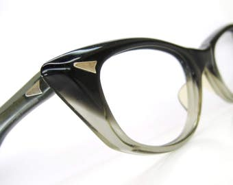 Vintage Pointy Cat Eye Frame Eyeglasses Two Tone  Fades