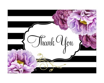 Digital Printable Thank You Note Bridal Shower with Purple Flowers on Black TYB001