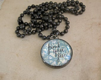 Find Your Fire Hand Lettered Pendant Inspirational Jewelry