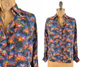 1980s YSL blouse / 80s Yves Saint Laurent Rive Gauche painterly blouse