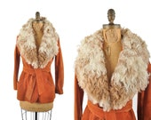 R E S E R V E D 60s Penny Lane suede rust orange jacket / 1960s suede mongolian curly collar coat / belted jacket .. small