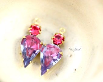 Fused Rose Light Sapphire & Indian Pink Vintage Earring Drops Connectors Teardrop Set Stones Brass Settings - 2