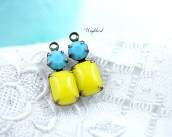 Lemon Yellow & Turquoise 16x6mm Vintage Glass Charms Octagon Connector Set Stones Brass Prong Settings - 2