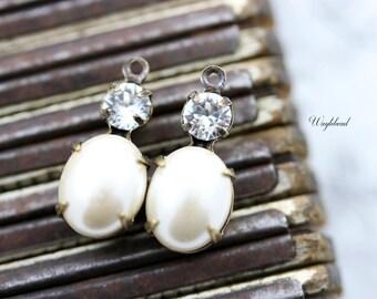 Set Stones Earring Drops Oval Stones 1 Ring Brass Settings Kiska Pearl & Crystal Clear Swarovski Dangle 18x8mm - 2