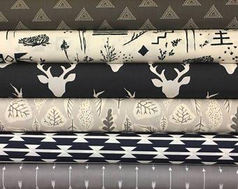 Navy, Grey, Custom, Fabric, Bundle, Baby, Boy, Stag, Arrows, Tomahawk, Woodland, Deer, Buck, Birds, Leaves, Modern, Native, Indigenous
