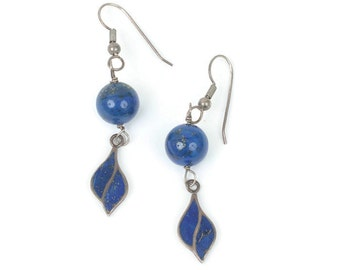 Lapis Bead and Sterling Earrings Enameled Dangle Vintage