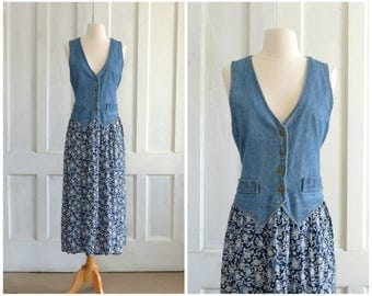 Denim Rayon dress Vest Dress Midi Dress Batik Print Skirt