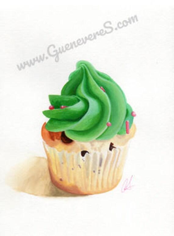 Mint Chip Cupcake watercolor original painting