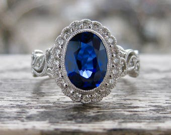 Royal Deep Blue Sapphire Engagement Ring in 18K White Gold with Diamonds in Vintage Style Vine Setting Size 5