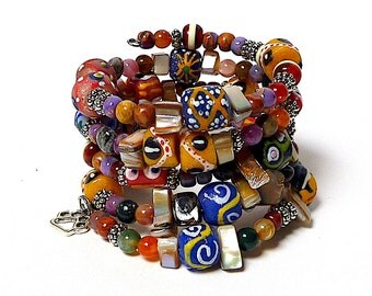 AUTUMN SPLENDOR coil Beaded Bracelet by Beading Divas Fundraiser