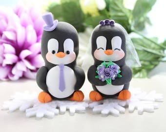 Unique wedding cake topper Penguins + felt snowflakes base - bride groom cake toppers winter wedding black white purple wedding gift elegant