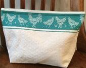 Hen Pecked--Vintage Cotton/Linen Storage Bag (Large)