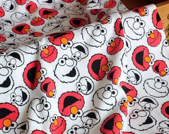 Cartoon Characters, Lovely Big Eye Red Elmo The Seasame Street On White- Knit Cotton Fabric (1/2 Yard, 17.7x55 Inches)