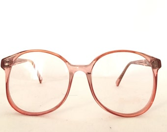 round eyeglass frames k7ie  Pink Round Eyeglass Frame NOS Never Used Iconic Blush Eyeglass Frames  Warhol Circular Sunglasses Pastel Clear Optical 80s Eyewear