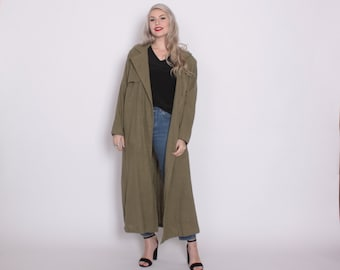Vintage 80s Trench COAT / 1980s Green Indian Cotton Linen Oversized Belted Duster