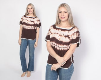 Vintage 70s Ethnic TOP / 1970s Earthy Tie Dye Loose Fit Cotton Blouse