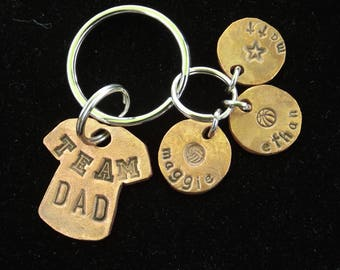 Team Dad Keychain, Kids Names Dad Keychain, Father's Day gift idea, KeyChain for Dad, Gift for Dad, Personalized keychain for dad