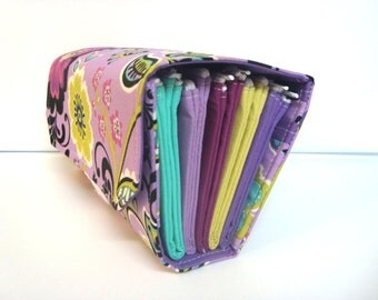 Cash Envelope Wallet  / Dave Ramsey System / ZIPPER Envelopes - Purple Floral Medallion