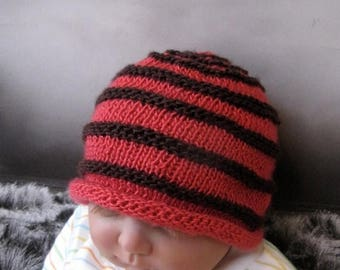 50% OFF SALE Instant Digital File pdf download Knitting Pattern - Baby Simple Stripe Roll Brim Beanie