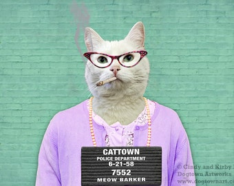 Busted, large original photograph of a bad cat in a vintage dress and sweater posing for her mug shot at the Cattown Jail