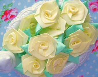 Jumbo Bloomed Roses - Yellow and Mint - Set of 12